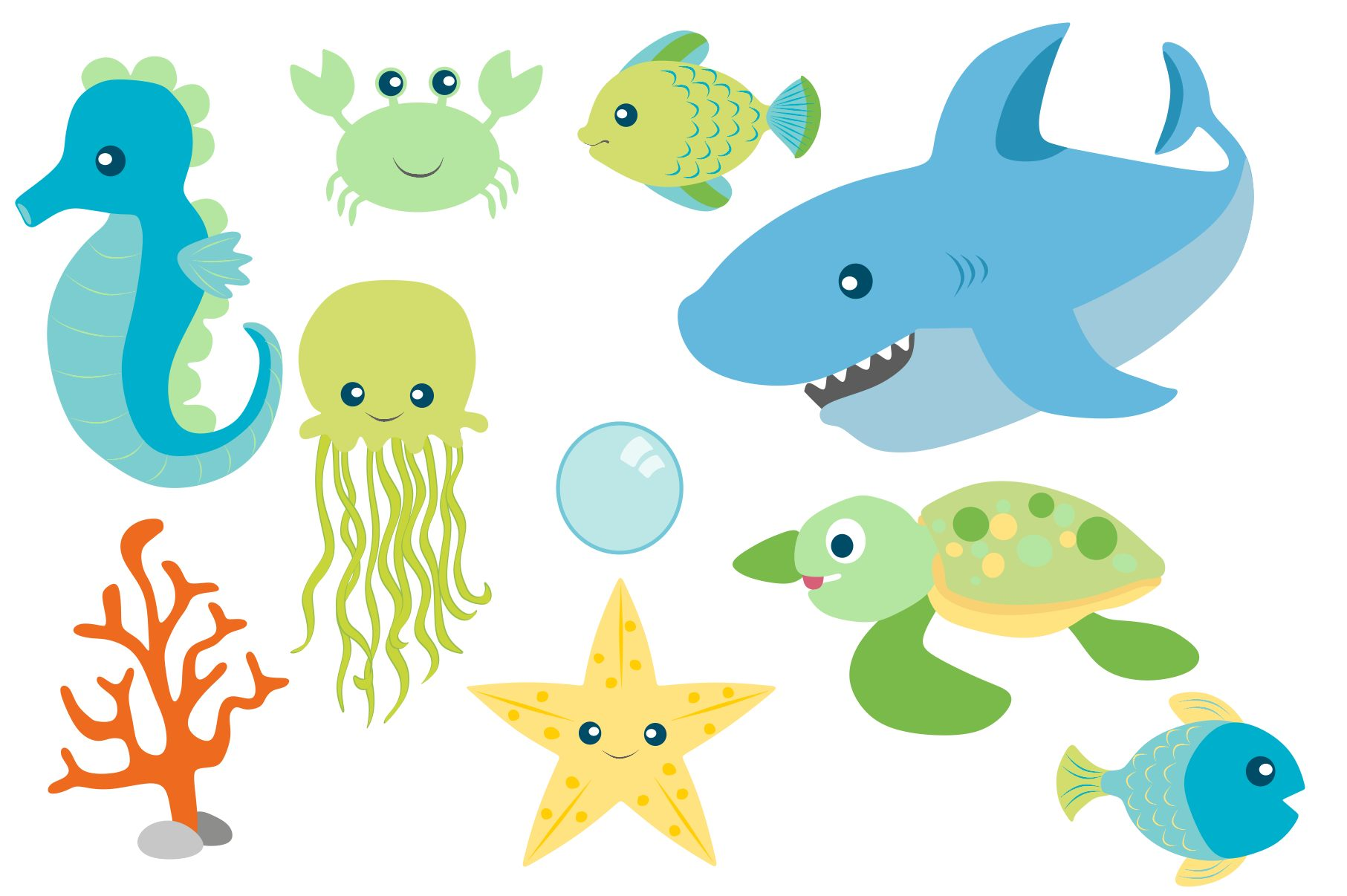 Sea Animal Clipart and Digital Papers Set example image 3
