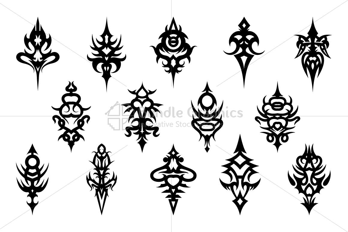 Tribal Symmetrical Black Vector Design Set example image 1