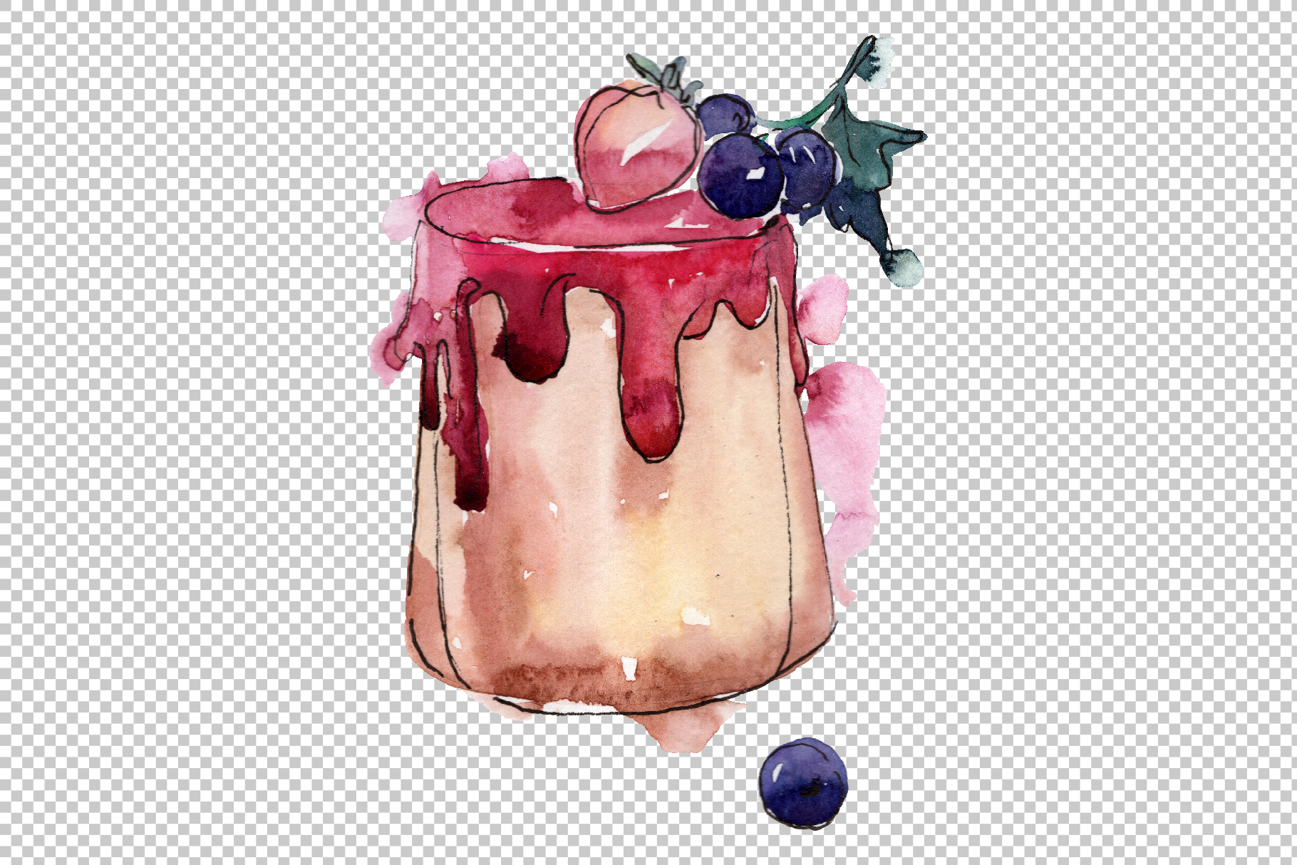 Dessert Love story Watercolor png example image 3