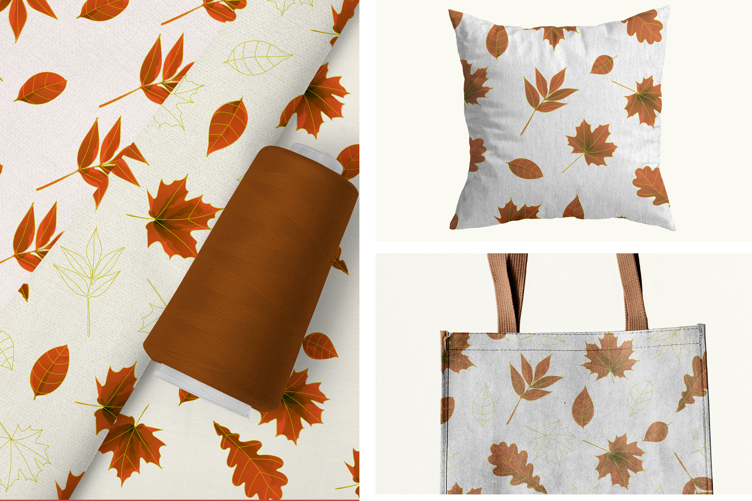 Autumn watercolor leaves pattern, seamless. example image 2