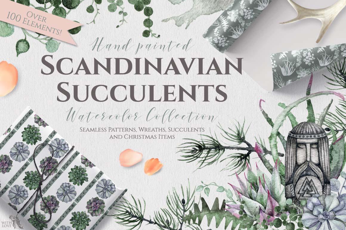 Watercolor Scandinavian Succulents example image 1
