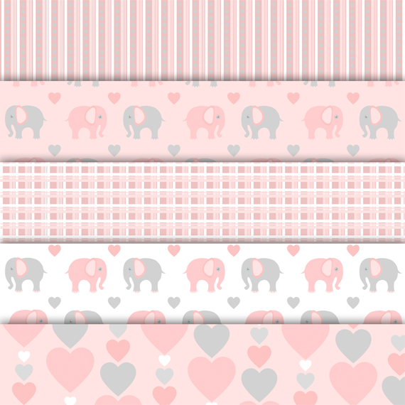 Digital paper pack Elephant Pink example image 2