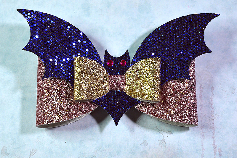 5 Hair bow template SVG, Halloween faux leather bow template example image 2