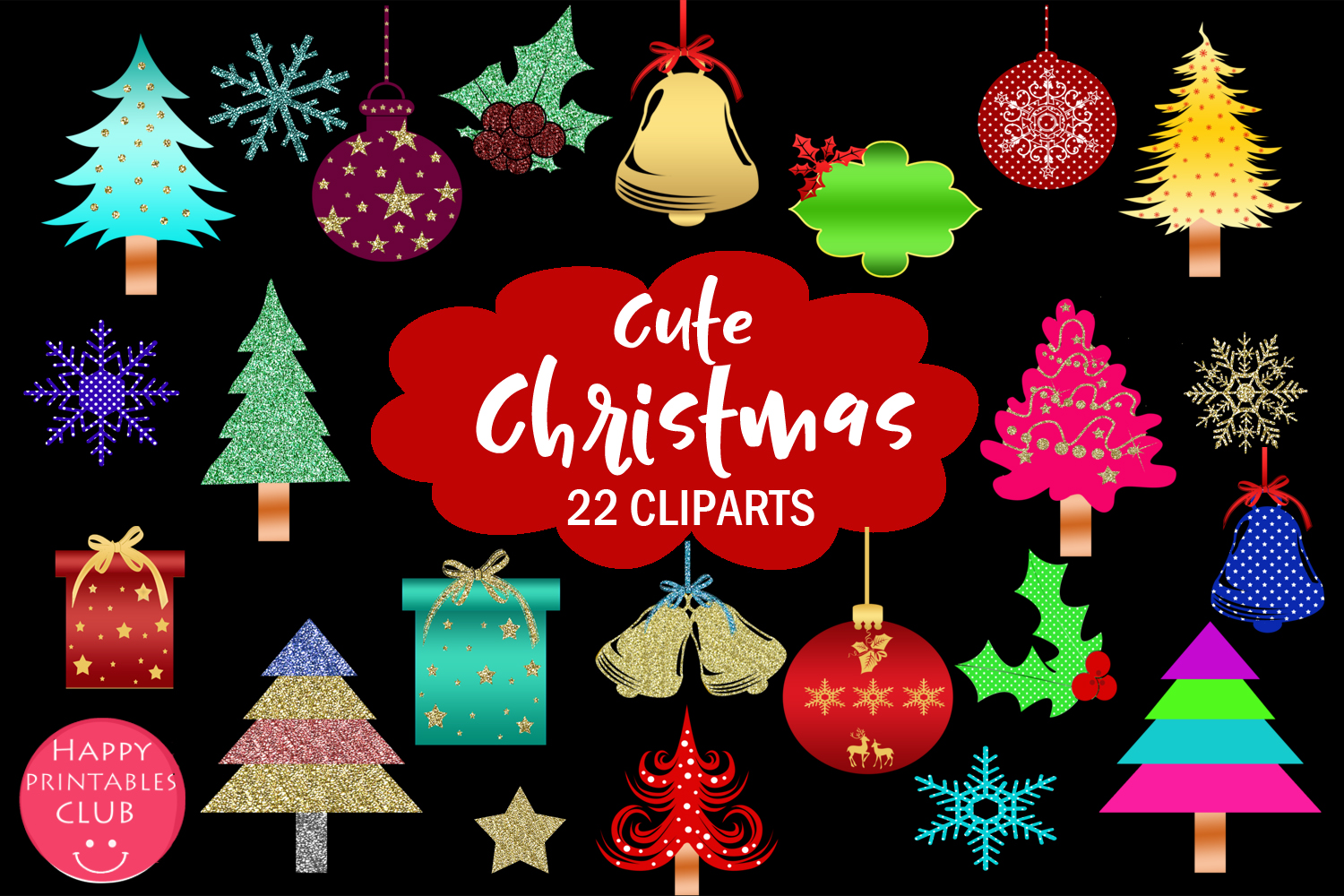Cute Christmas Clipart- Cute Holiday Graphics Clipart example image 1