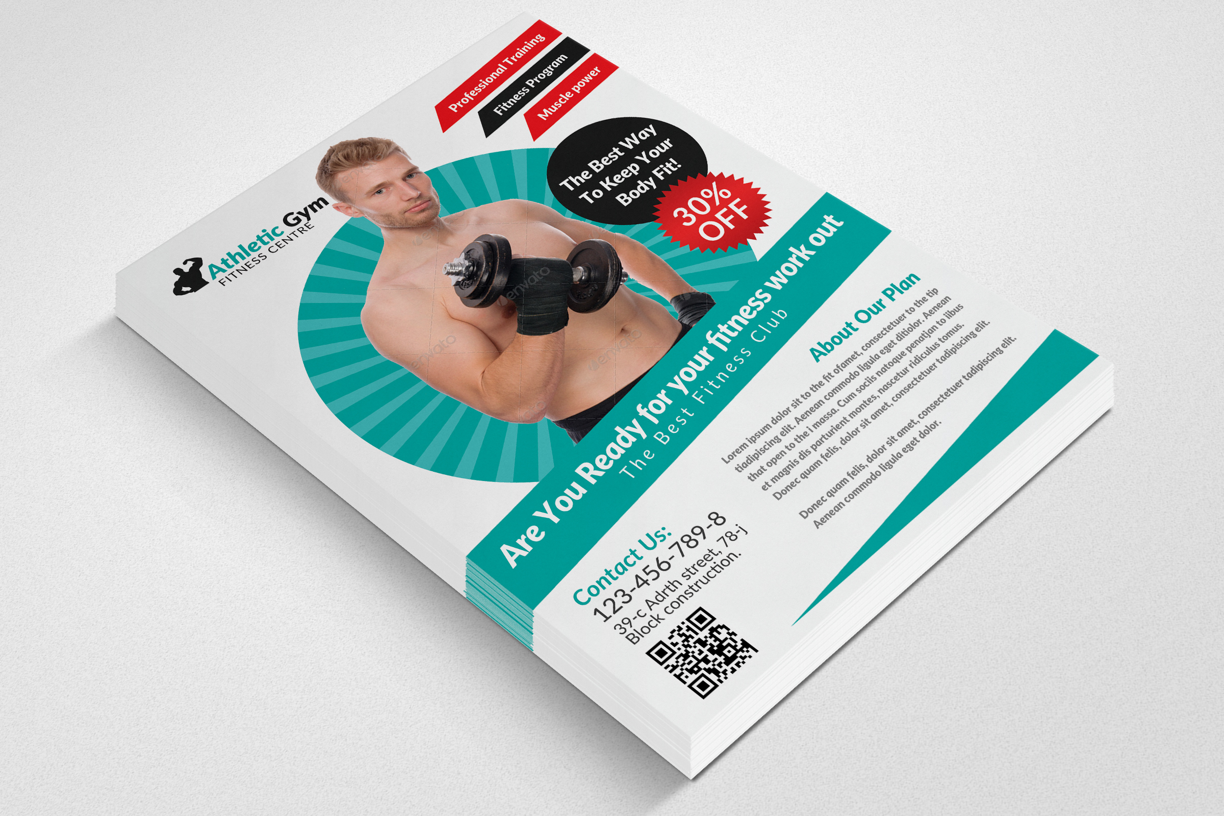 Body Fitness Gym Flyer Template example image 2