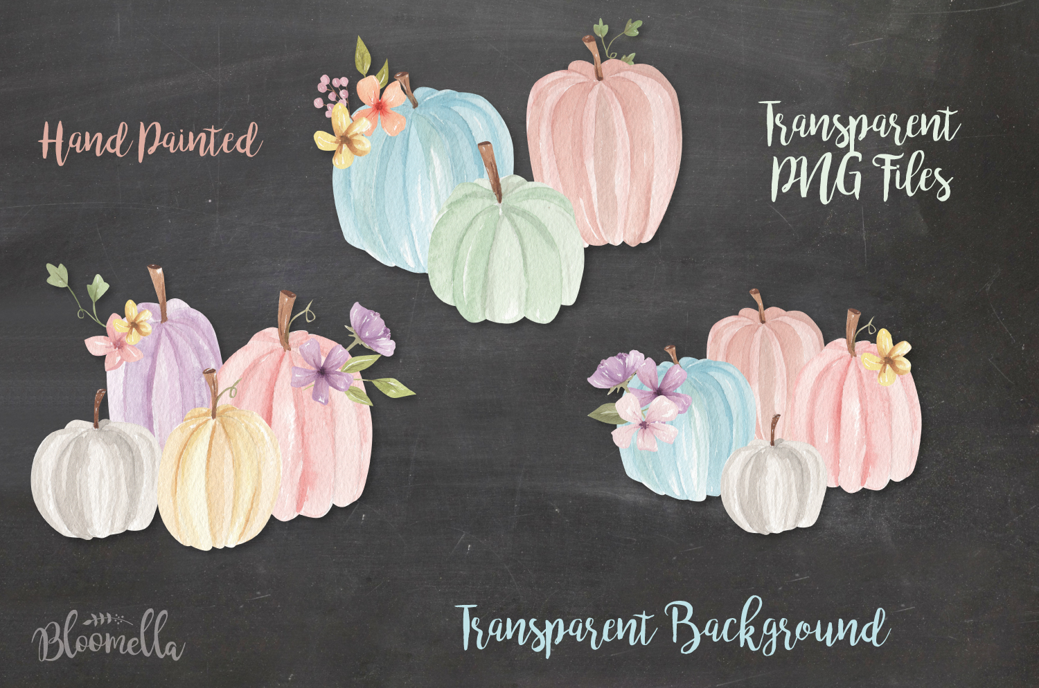 Pastel Pumpkins Hand Painted Watercolor 20 Fall Elements example image 2
