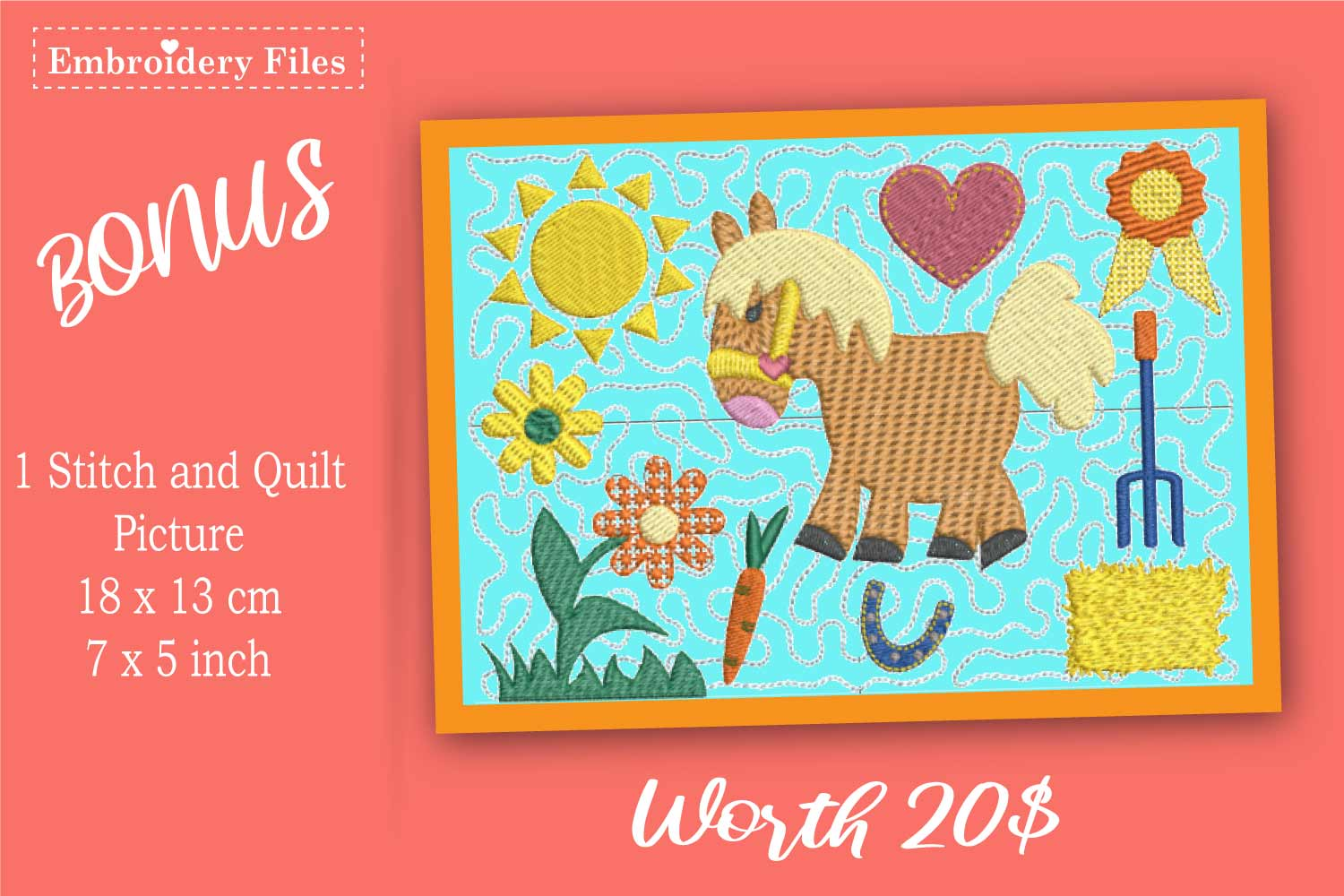 My lovely Pony - Embroidery Files - 10 Motives example image 2