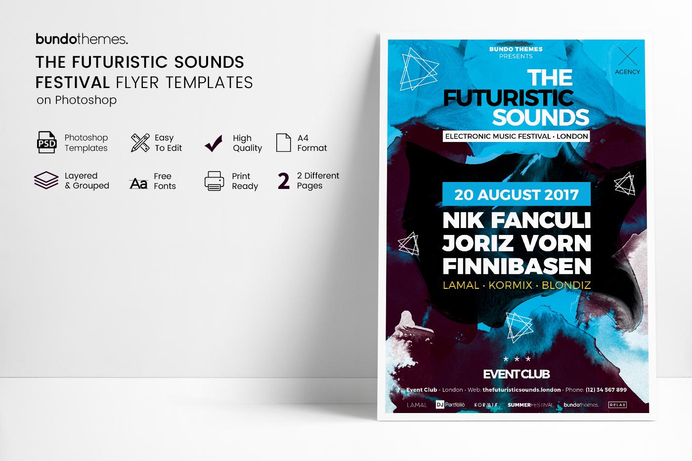 The Futuristic Festival Flyer Template example image 6