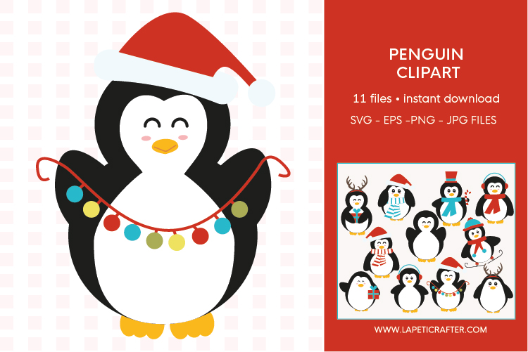 Christmas penguin clipart set, winter animals vector example image 4