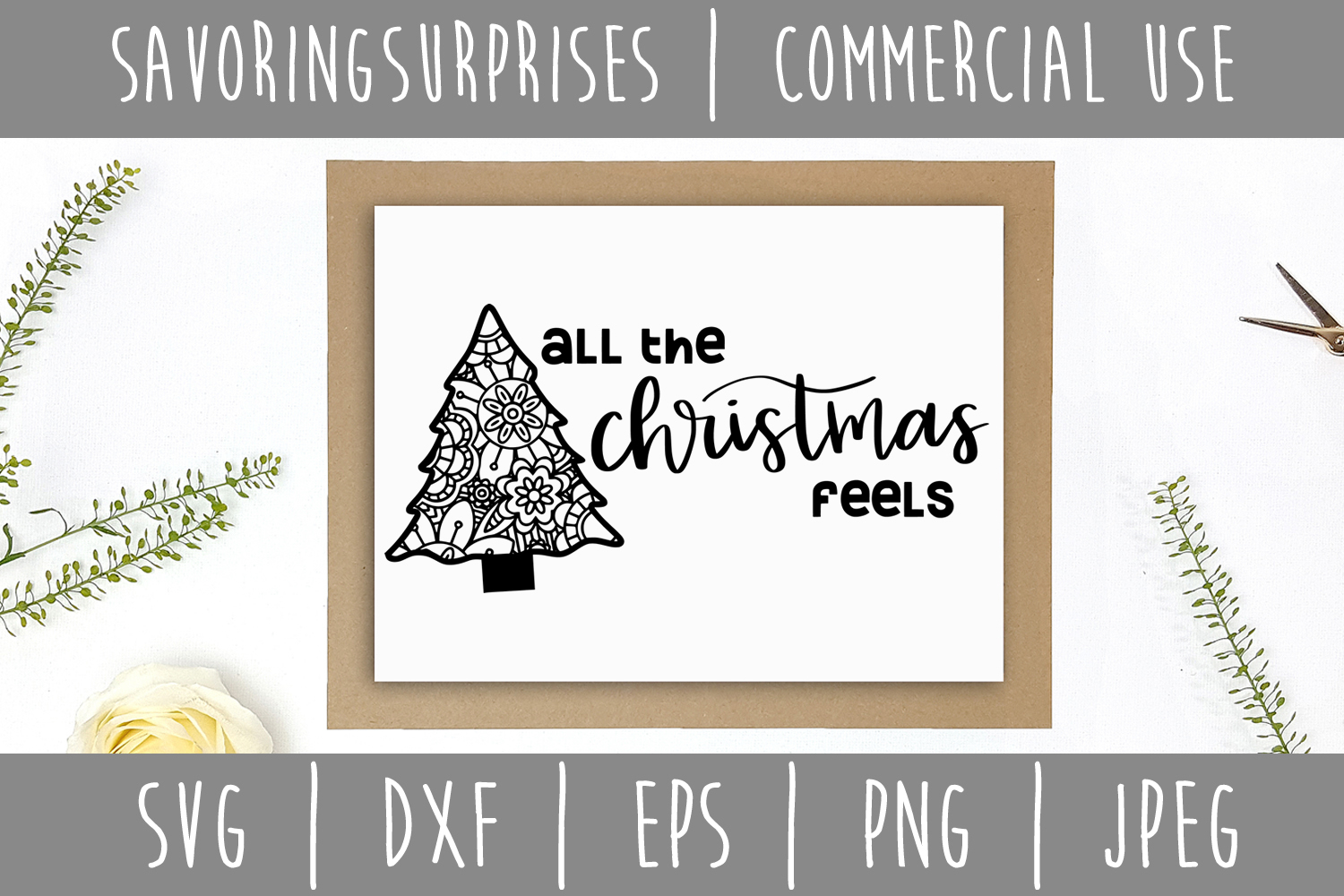 All the Christmas Feels SVG, DXF, EPS, PNG JPEG example image 3