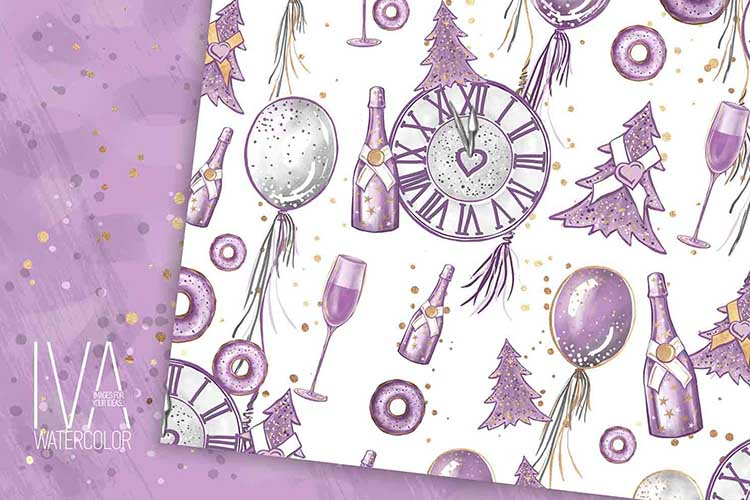 New Year's Eve Digital Paper Pack, Fashion Illustration example image 5