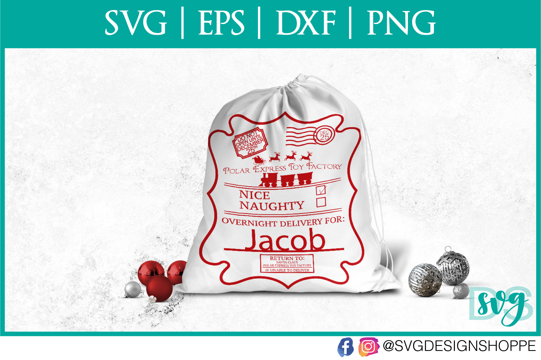 Santa Sack Label, SVG Files example image 1