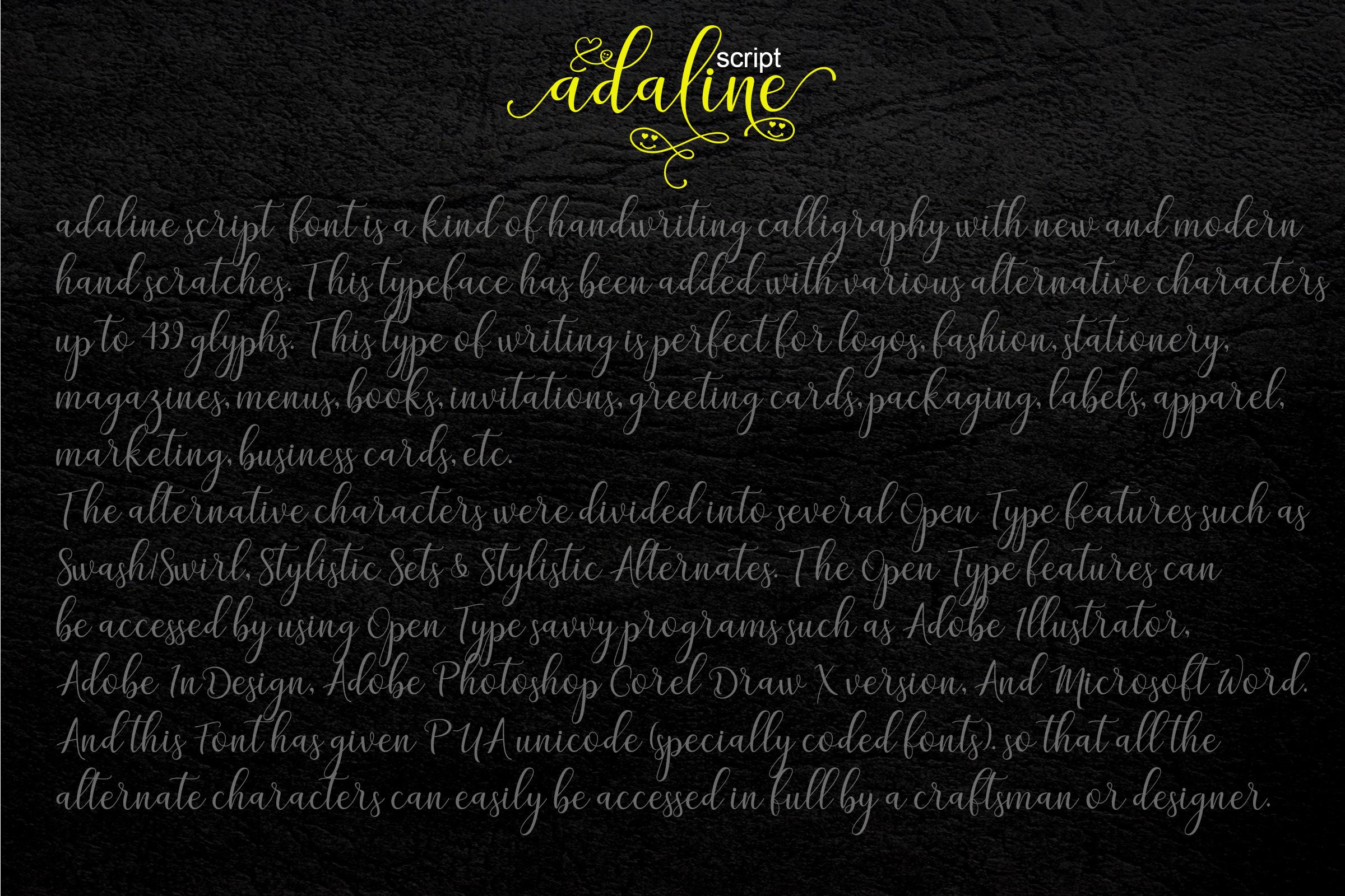 Adaline Script Font Family example image 12
