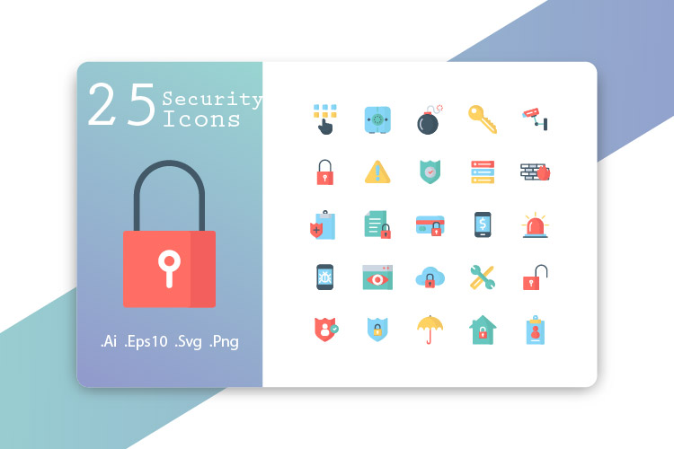 25 Security Icons Flat Design example image 1