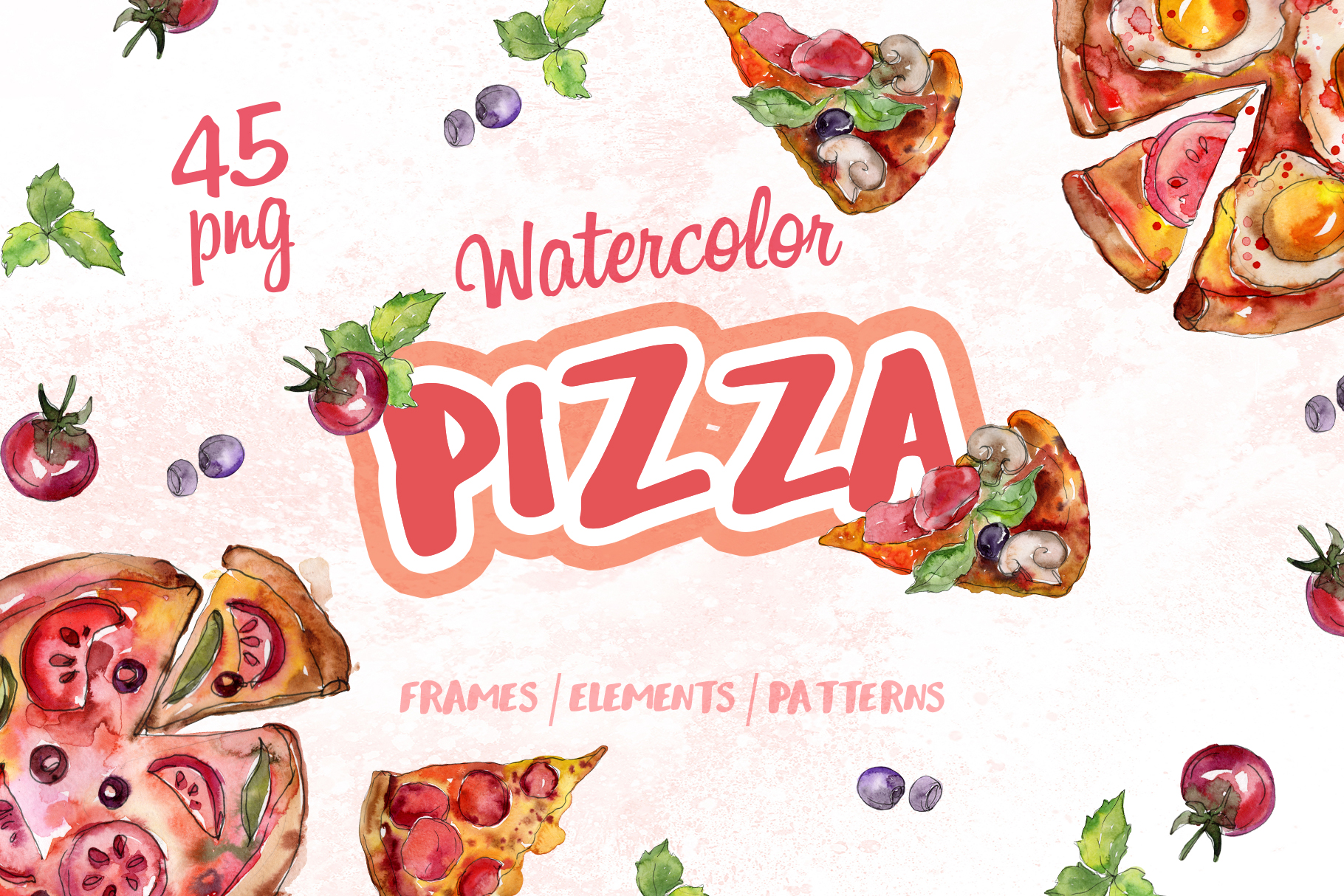 Pizza Watercolor png example image 1