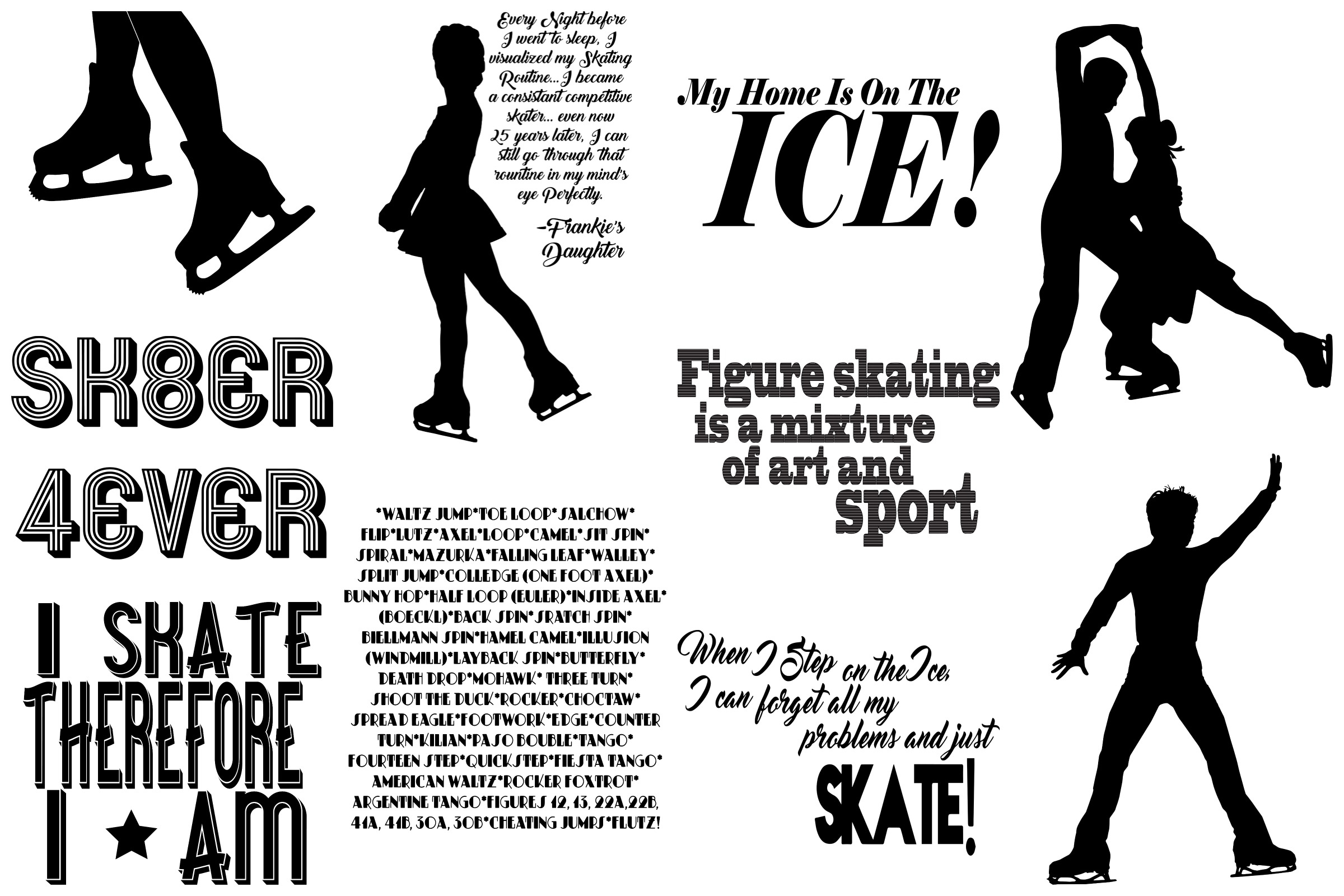 Ice Skating Silhouettes AI EPS PNG, Figure Skating example image 5