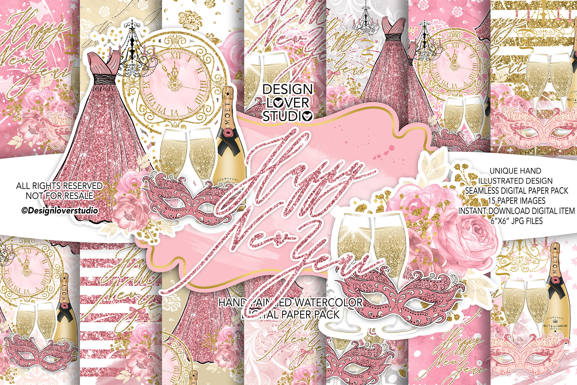 Happy New Year digital paper pack example image 1