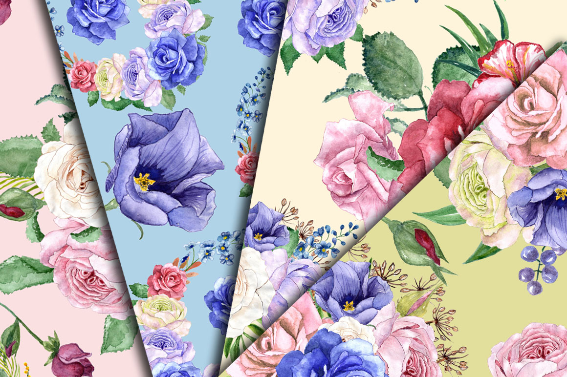 Watercolor roses clip art example image 5