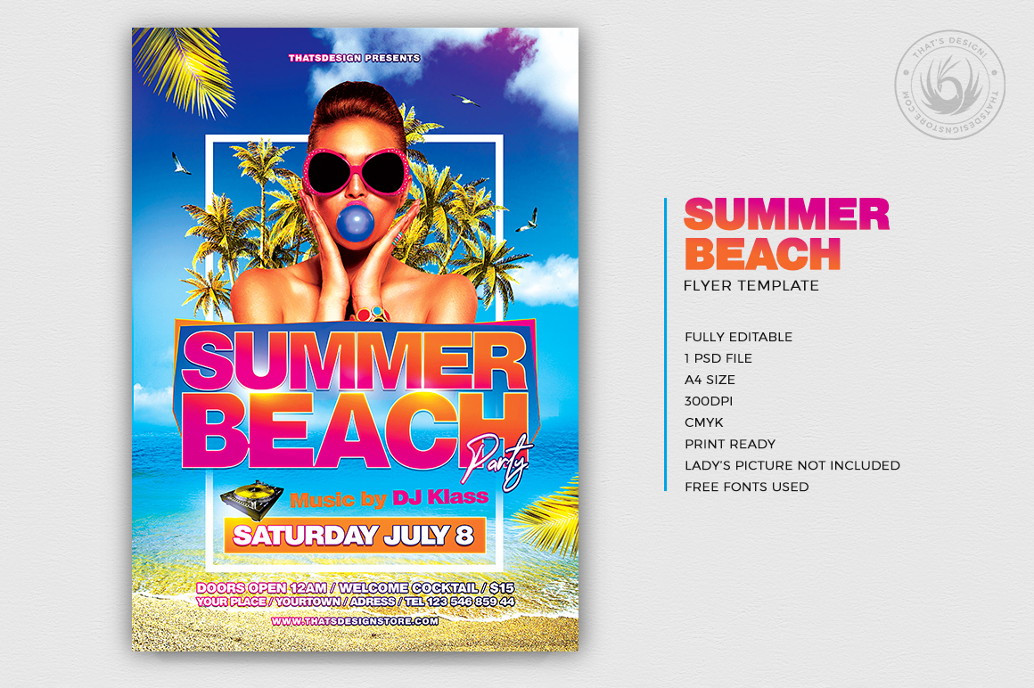 Summer Beach Flyer Template V4 example image 2