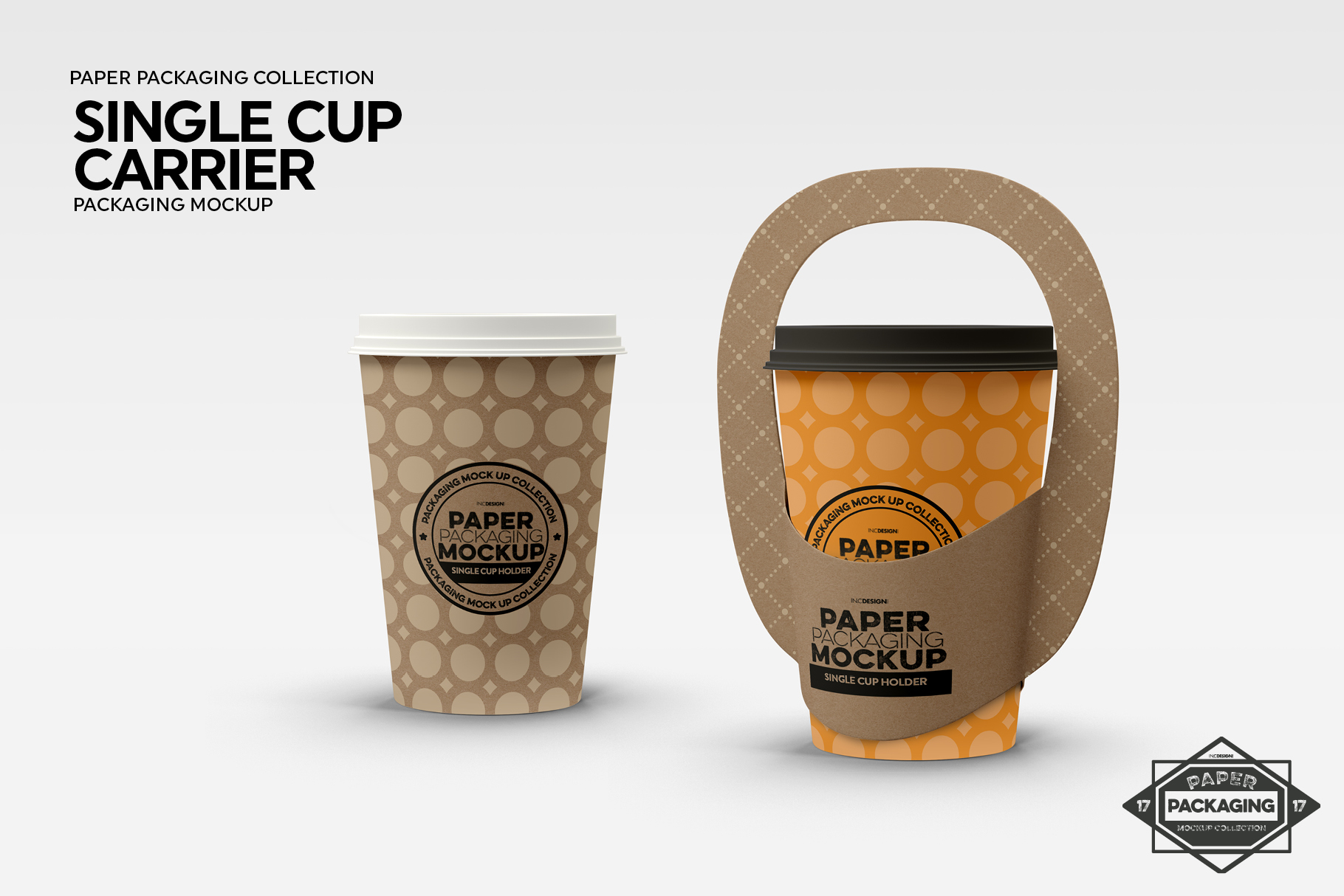 Single Cup Paper Carrier Packaging Mockup example image 3