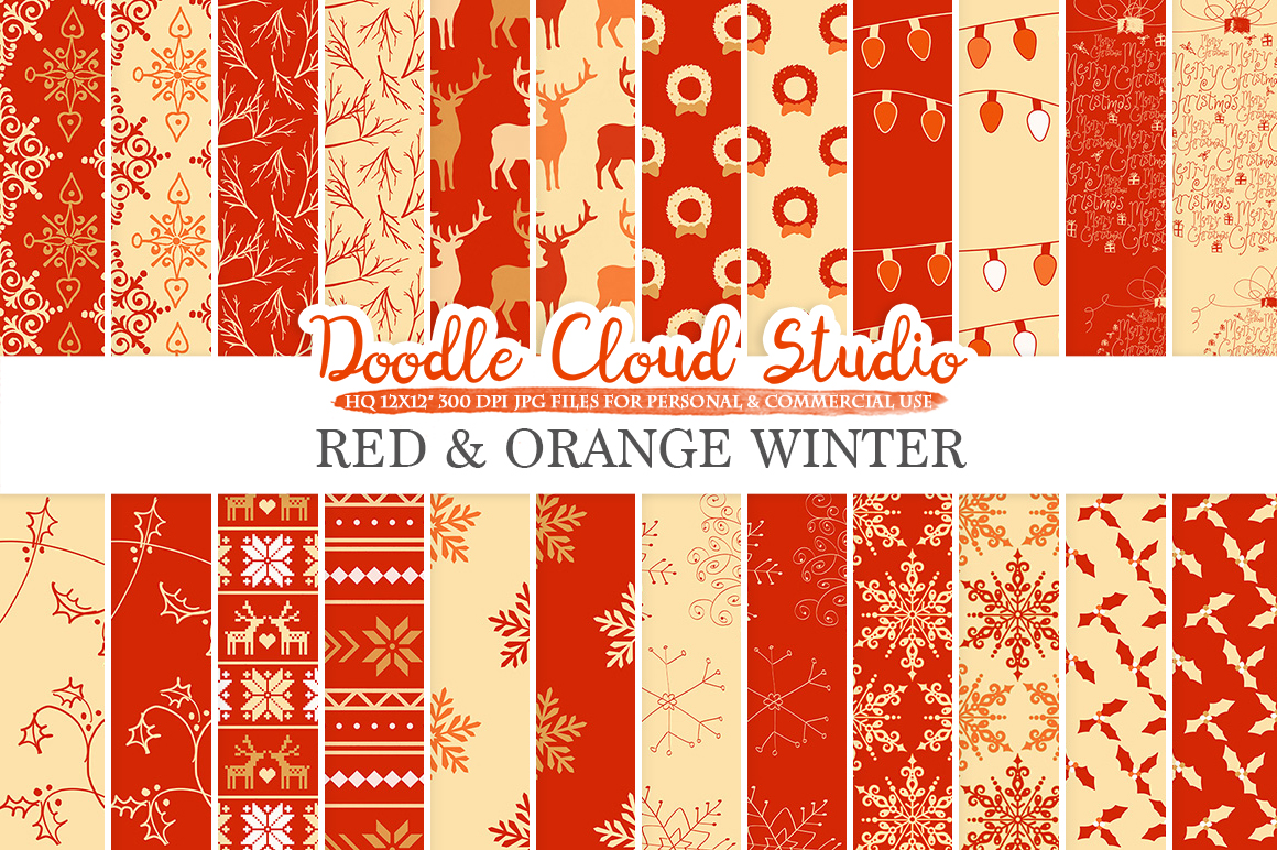 Red and Orange Winter digital paper, Red and Gold Christmas Holiday patterns, Stars Snow deers X-mas backgrounds Personal & Commercial Use example image 1