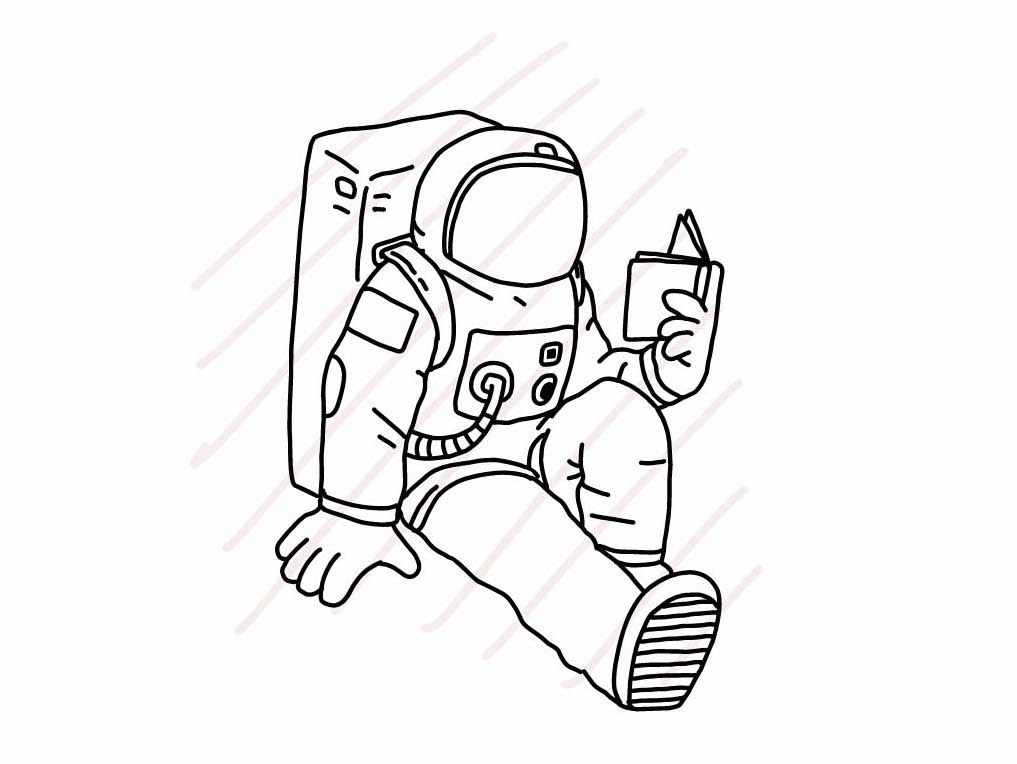 Astronaut sitting and reading a book - SVG/JPG/PNG Hand Drawing example image 1