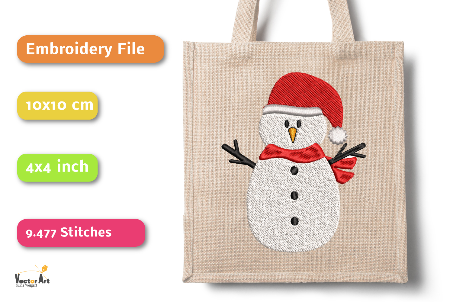 Snowman - Embroidery File - 4x4 inch example image 3