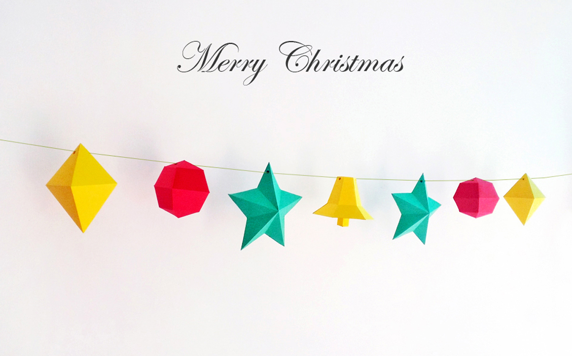 DIY Christmas Bunting/Flags - 3d papercraft example image 1