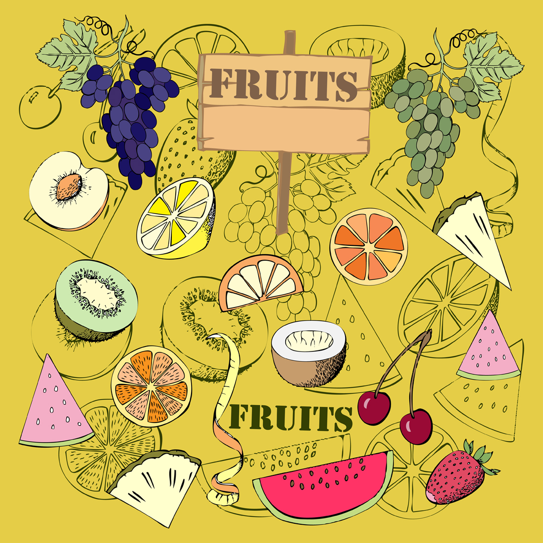 Fruit Set. Hand Drawn Sketches example image 2