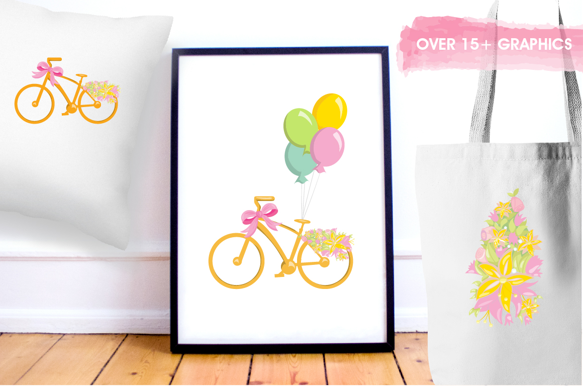 Floral Bicycles graphics and illustrations example image 5