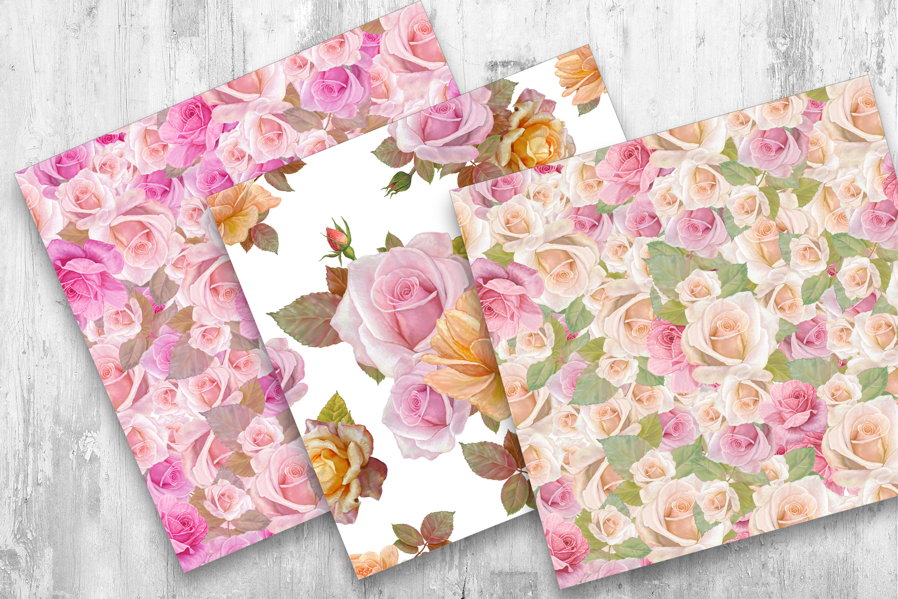 Roses Pattern, Seamless,Floral Digital Paper example image 4