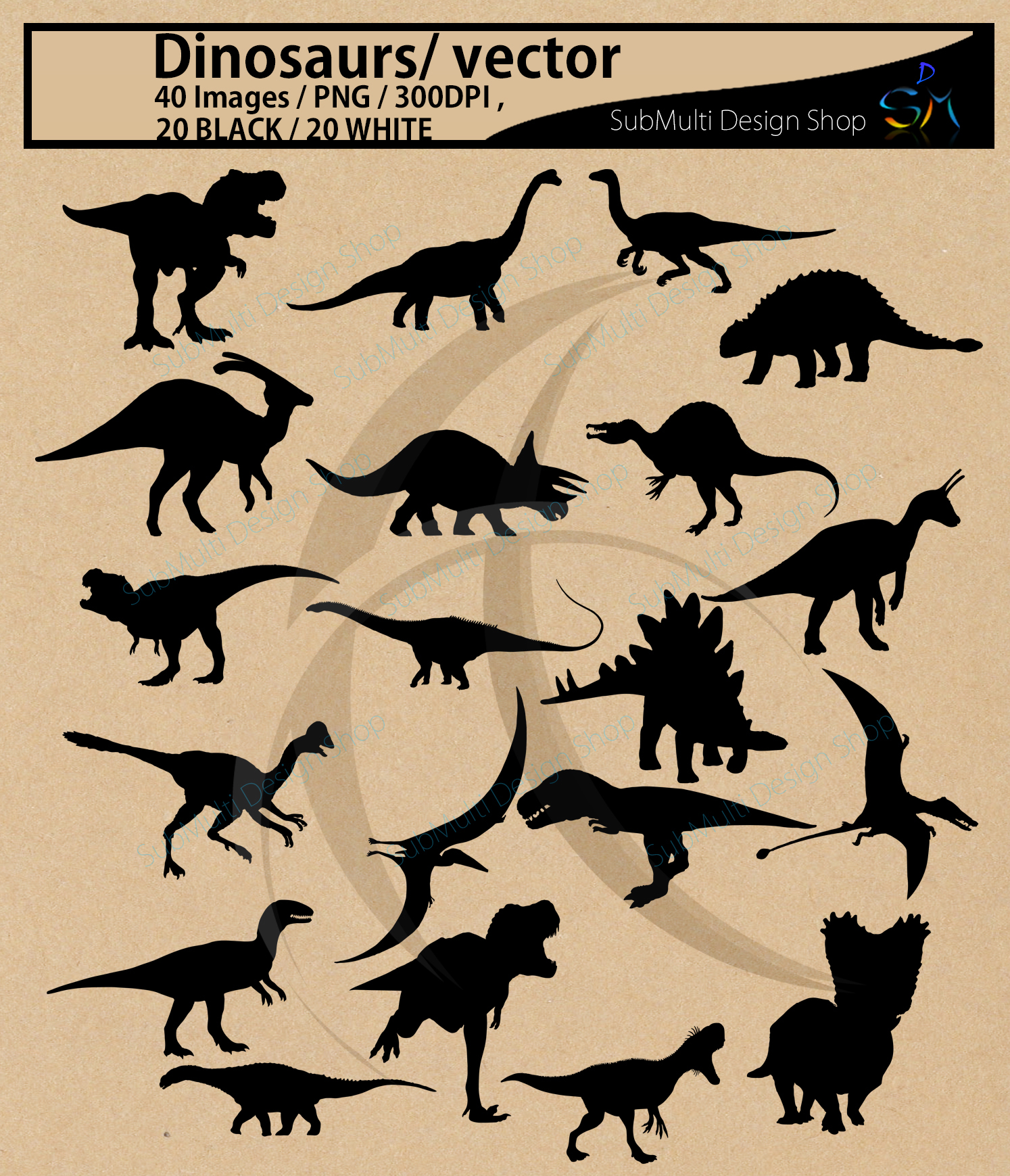 Dinosaurs silhouette svg / dinosaur Clipart, Iron on Transfer, Scrapbooking & Crafts / SVG template / EPS / PNG /animal silhouette / vector example image 3