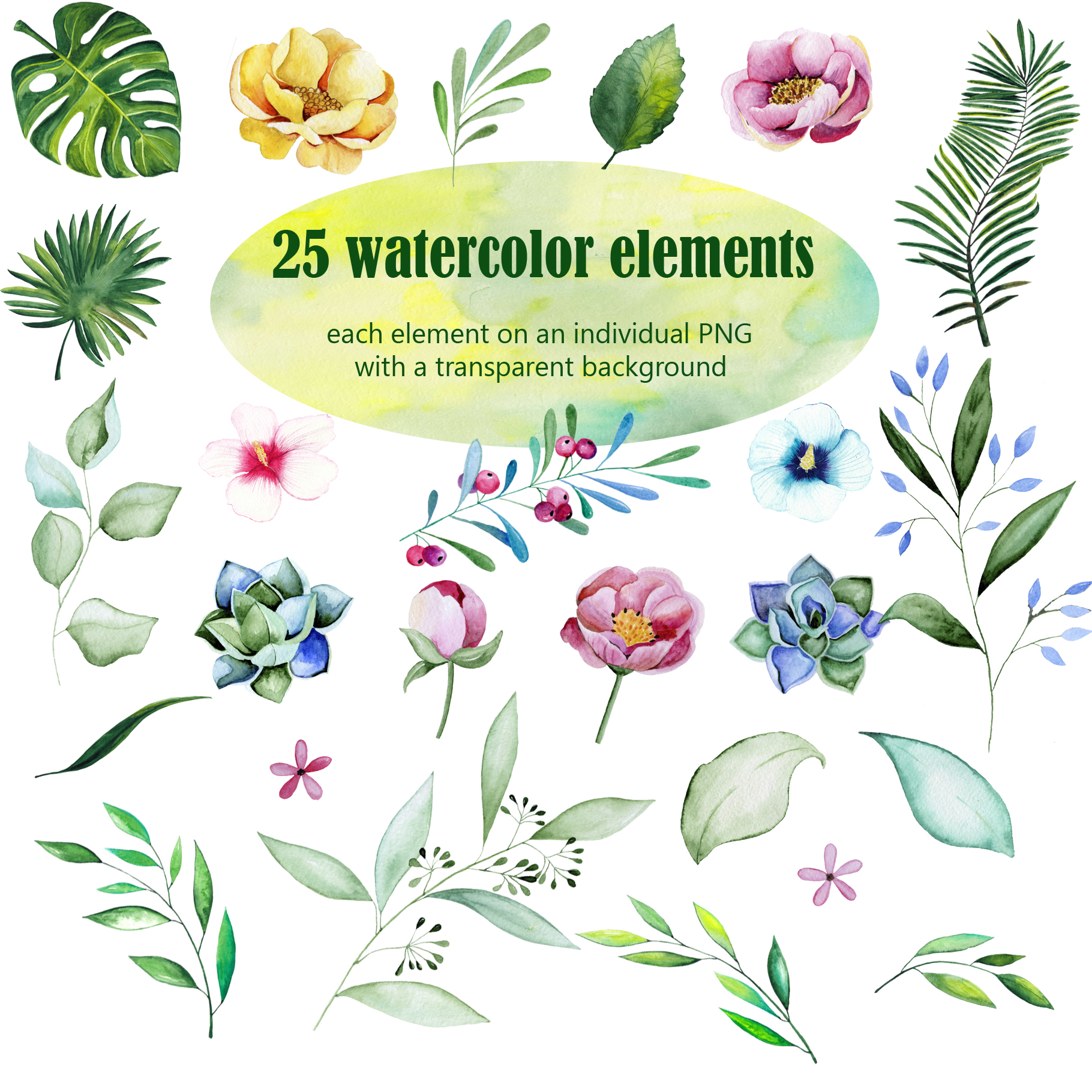 Tropical watercolor collection example image 2