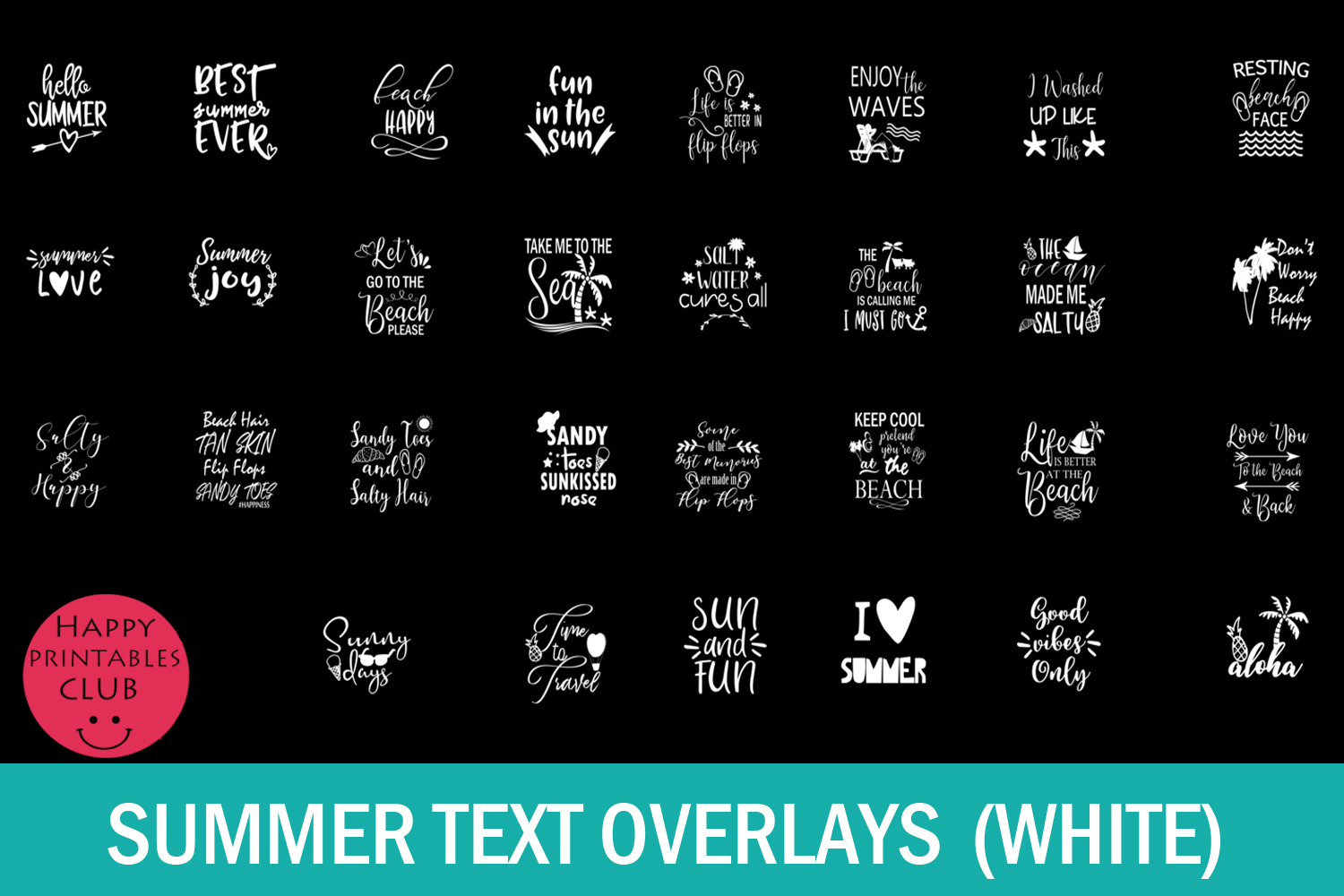 Summer Text Overlays- Summer Cards- Summer Text Clipart example image 4