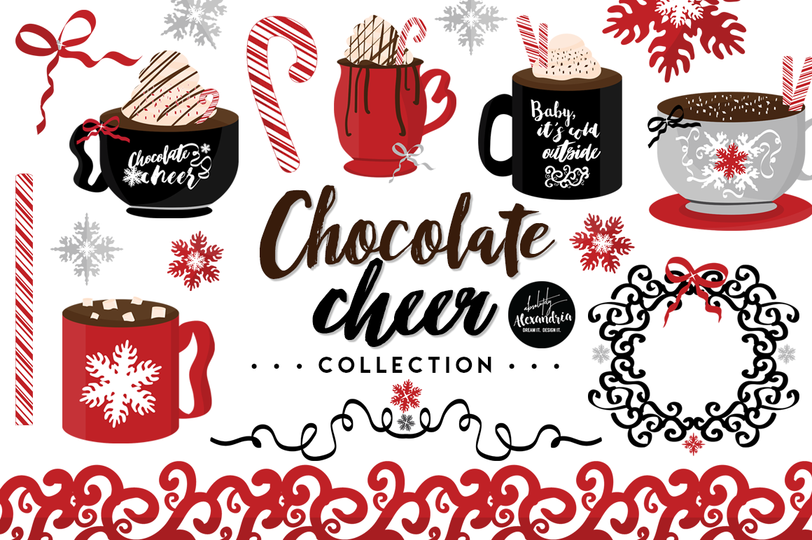 Chocolate Cheer Clipart Graphics & Digital Paper Patterns Bundle example image 1
