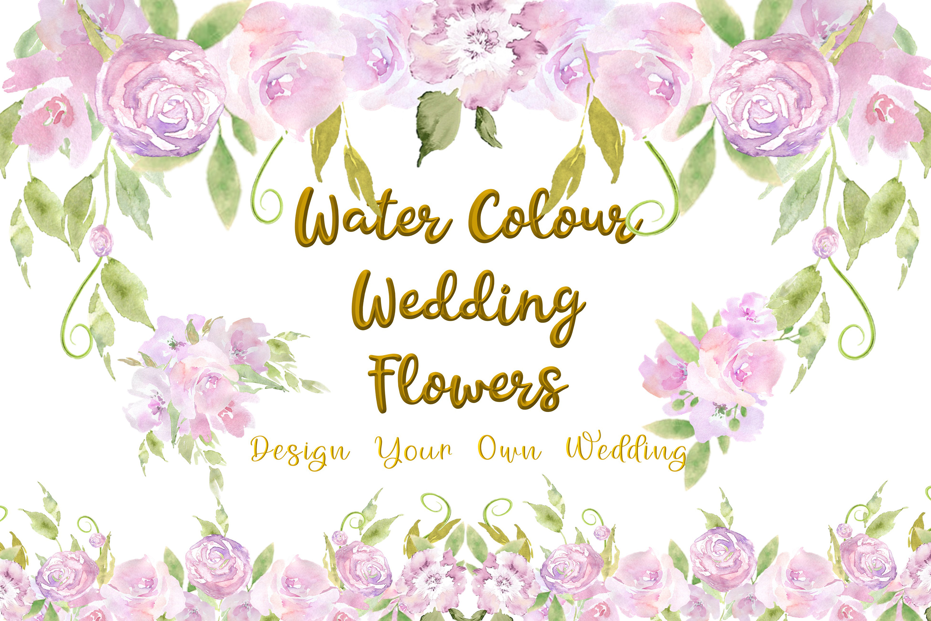 Water colour Wedding Flowers CLipart Kit Commercial Use example image 1