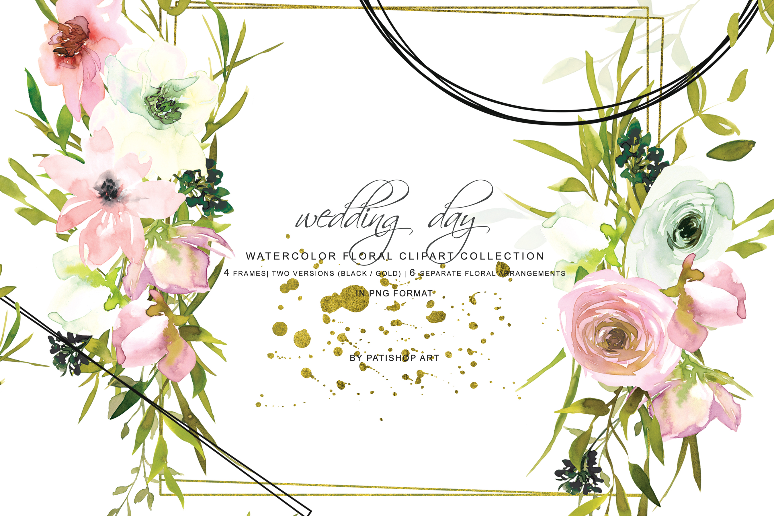 Hand Painted Watercolor Blush and White Rose Clipart example image 1