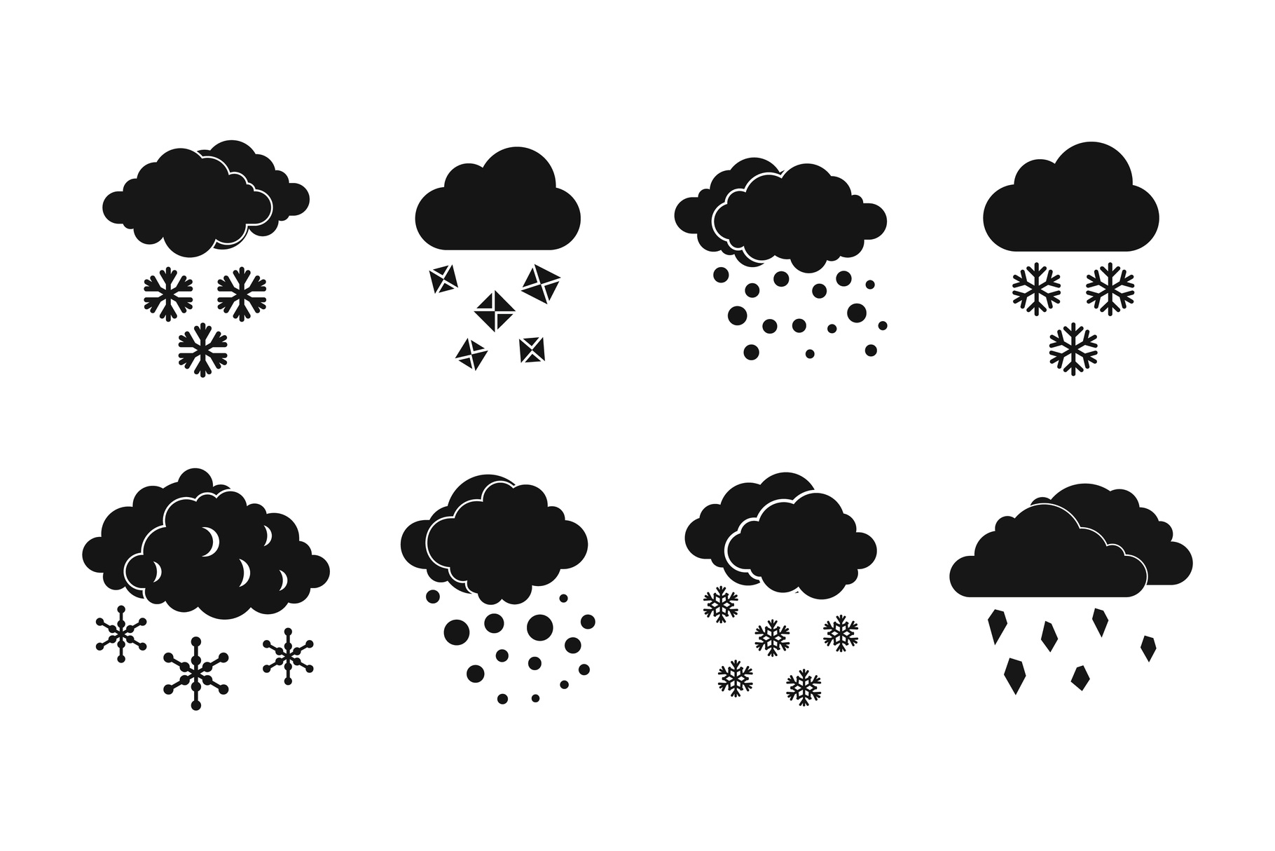 Snow cloud icon set, simple style example image 1