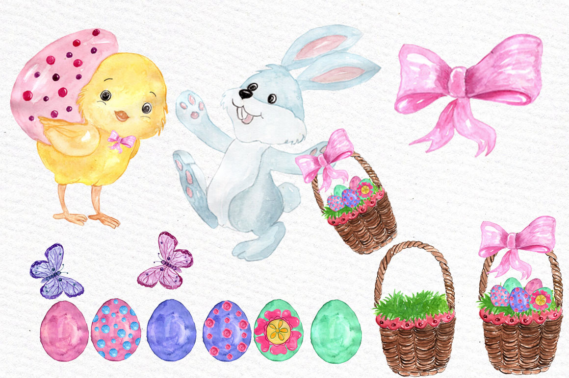 Watercolor Easter kids clipart example image 3