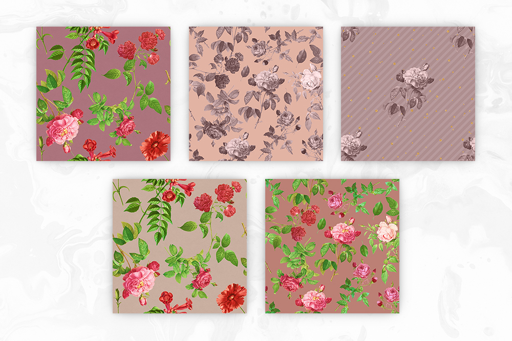 Tileable Beige Backgrounds With Vintage Flower Illustrations example image 2