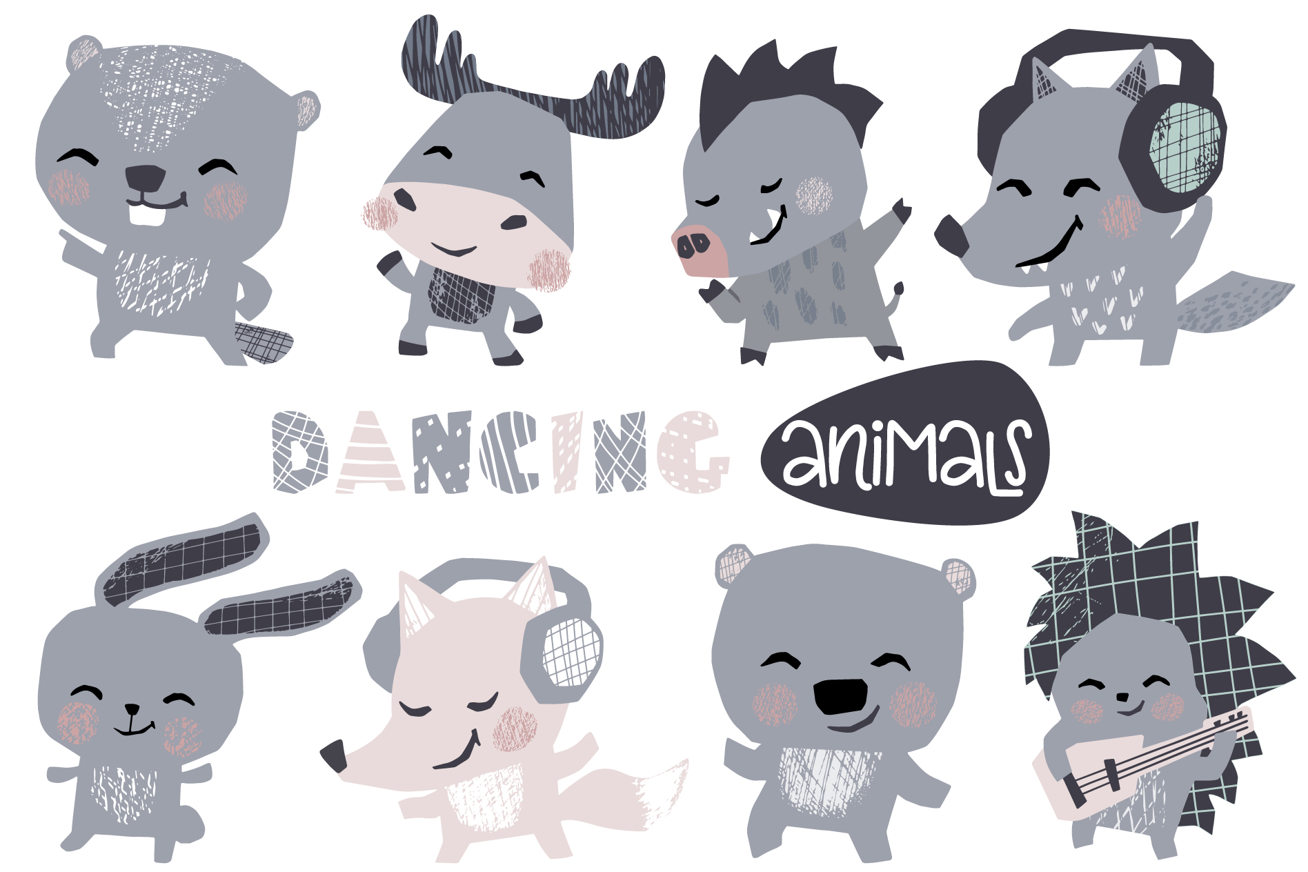 Dancing animals. Music kids vector example image 3