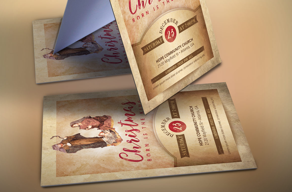 Vintage Christmas Cantata Flyer Template example image 3