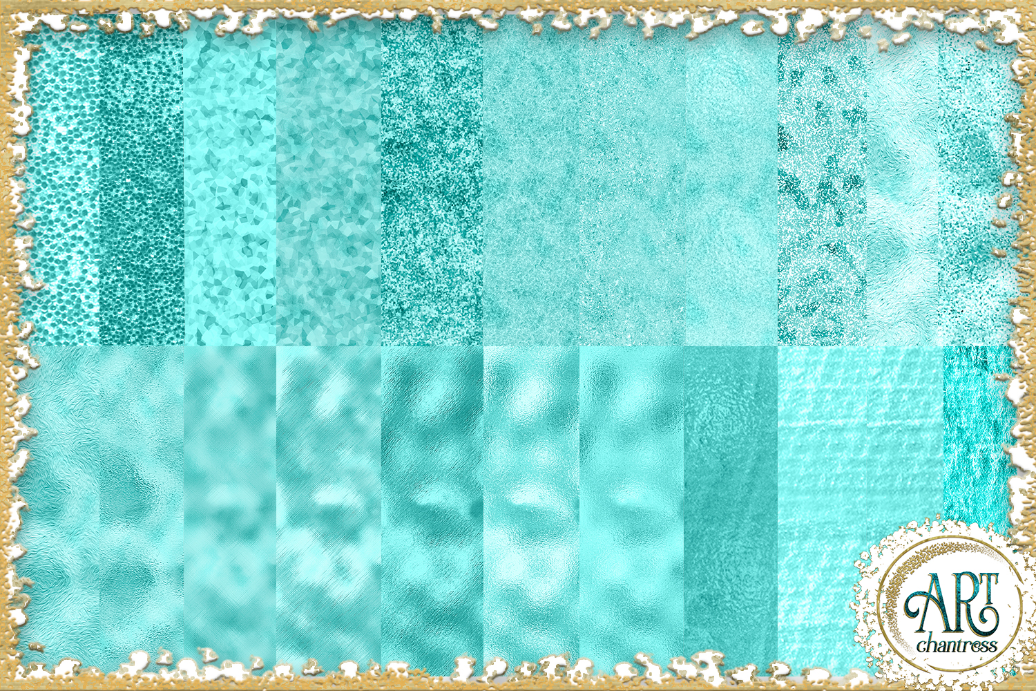 Teal Aqua Foil Glitter Seamless Digital Papers,Borders Set example image 3