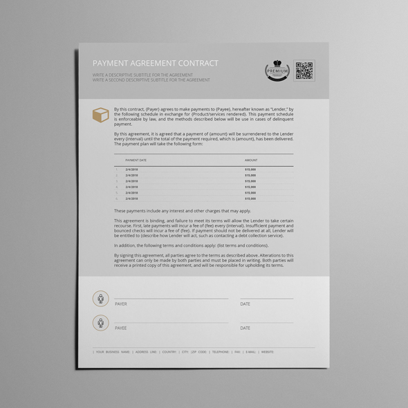 Payment Agreement Contract USL Format Template example image 5