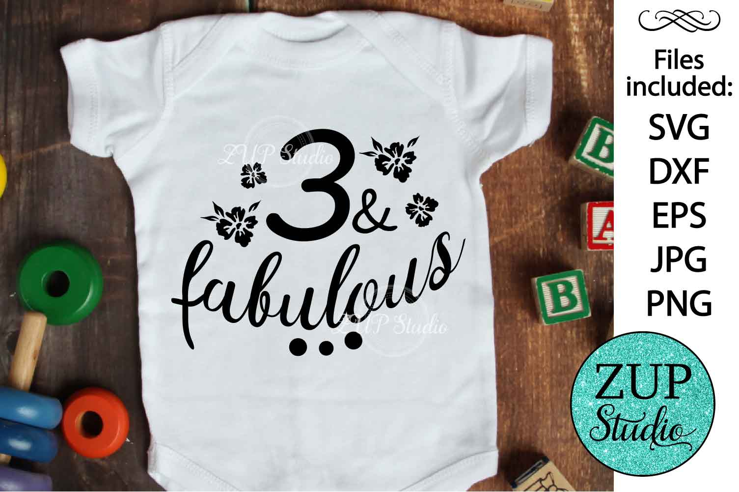 Three and fabulous Digital Cutting files file 130 example image 1