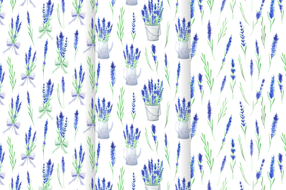 Lavender Watercolor Seamless Patterns example image 3