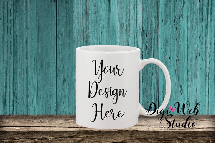 Mockup Bundle - Teal Wood Signs, Pillow & Coffee Mug example image 5