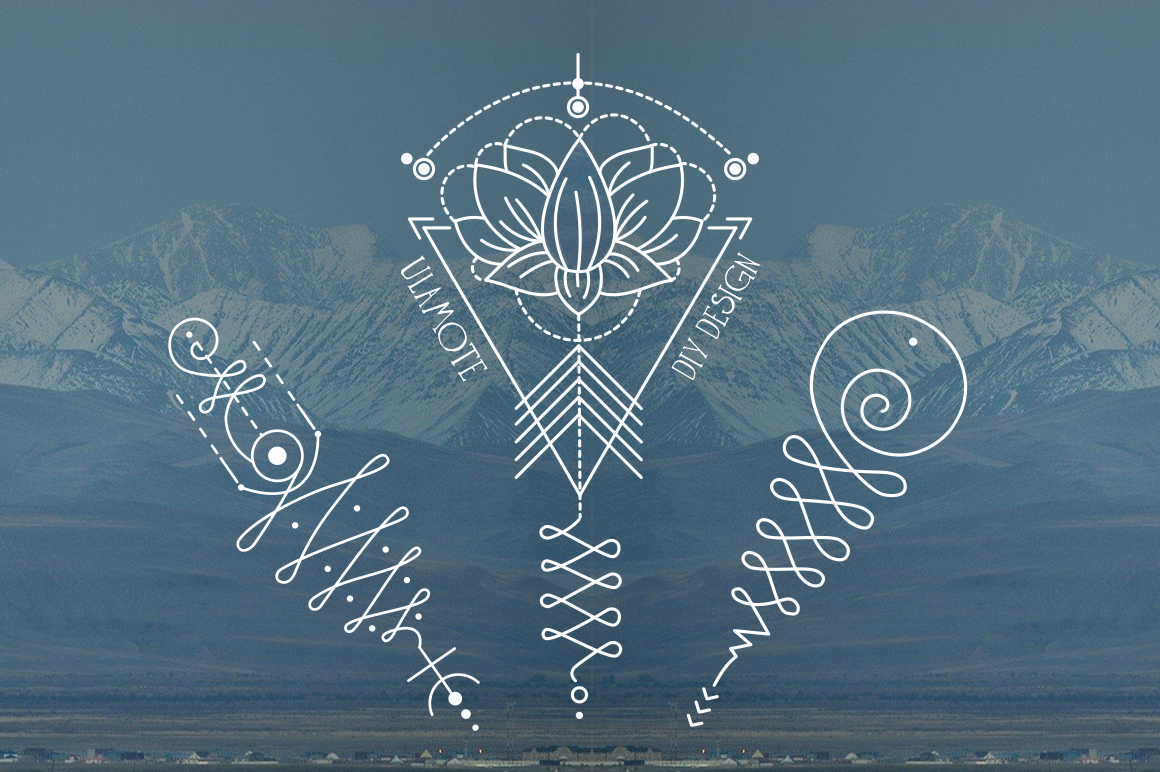 11 Unalome & lotus Sacred symbols example image 5