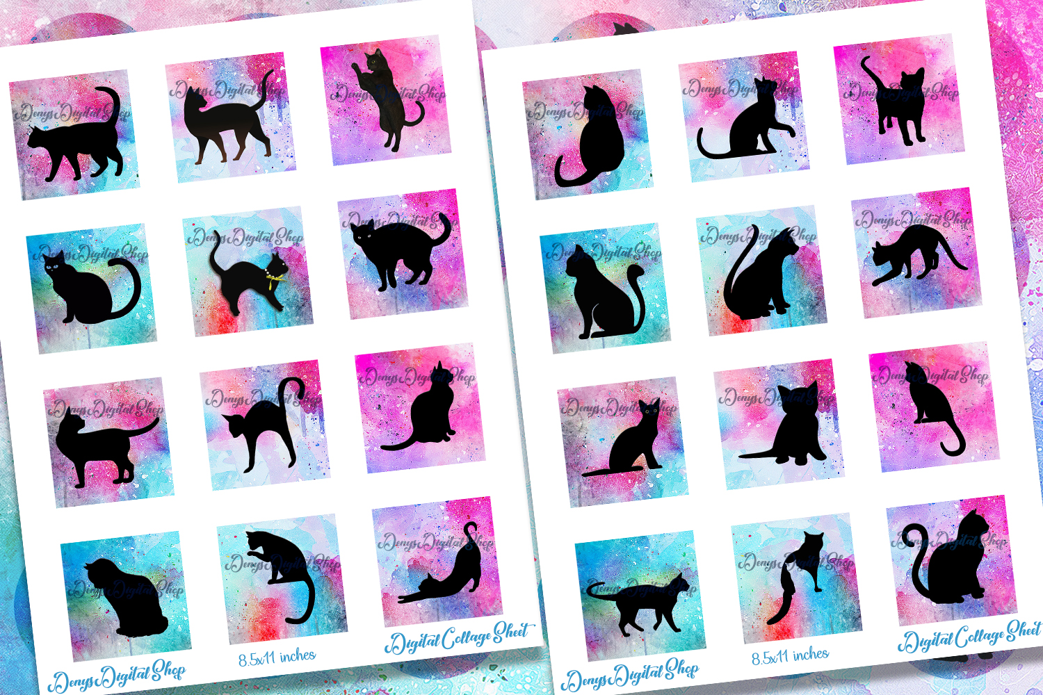 Cats Silhouette Digital Collage Sheet,Cats Silhouette Square example image 2
