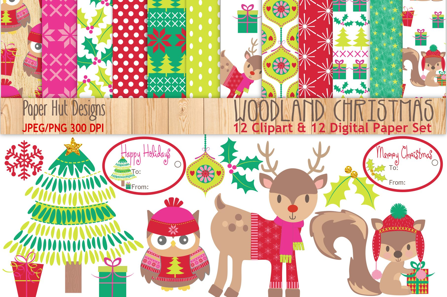 woodland christmas clipart and digital papers set example image 1 - Woodland Christmas